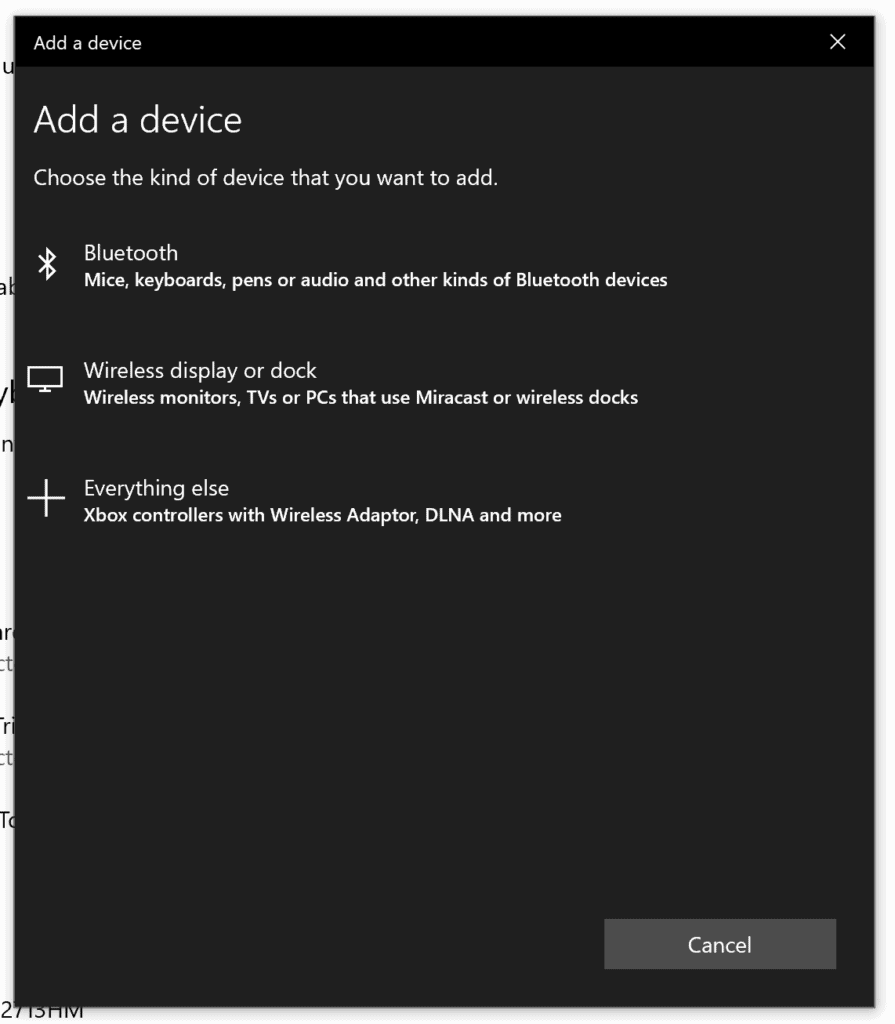 Select Bluetooth from the list to pair Airpods to Windows 10.