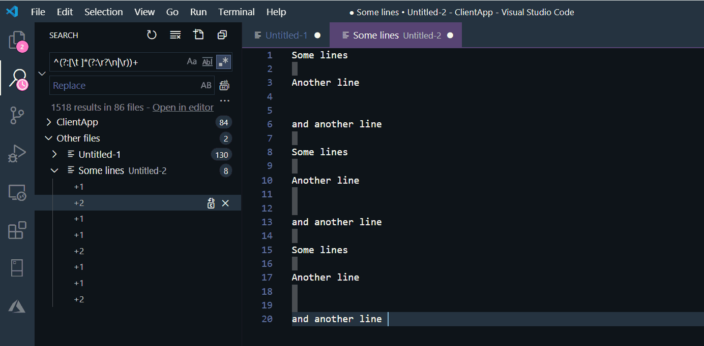 Use Regular Expression and Visual Studio Code to remove empty lines